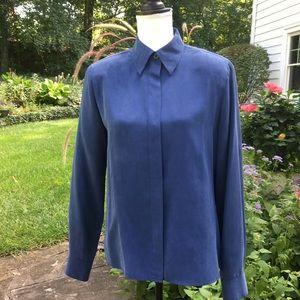 CARLISLE Royal Blue Silk Blouse